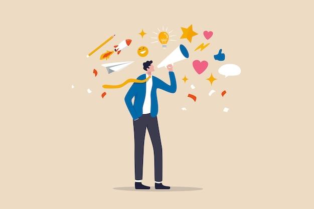 ストーリーテリング、コミュニケーションの芸術、またはアイデア、インスピレーションを伝え、共有し、広告コンセプトでマーケティングキャンペーンを促進する Premiumベクター