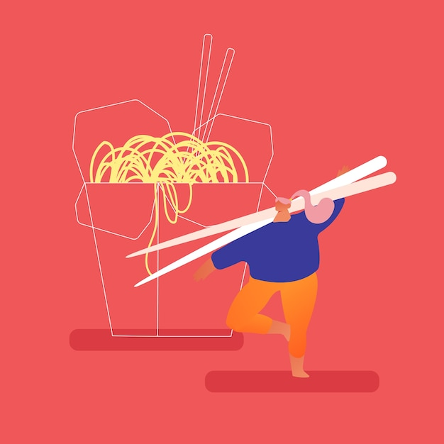 Stout man holding huge wooden chopsticks i Premium Vector