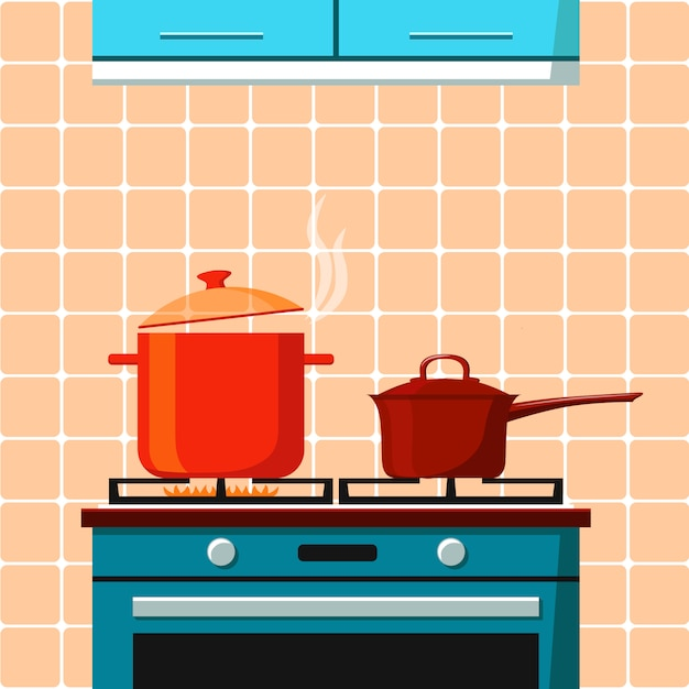 The stove with one burning ring and boiling pan on it and bucket with lid on other ring Premium Vector