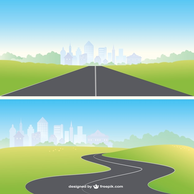 Straight and curved road Free Vector