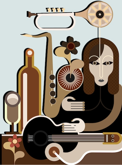 Strange woman with musical instruments - vector background. abstract art application. Premium Vector