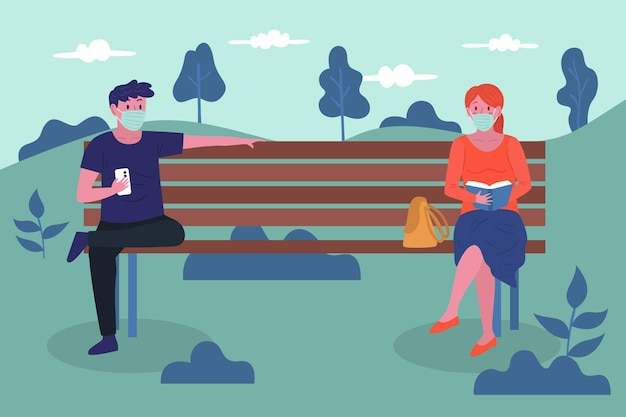Strangers keeping their distance in park Free Vector