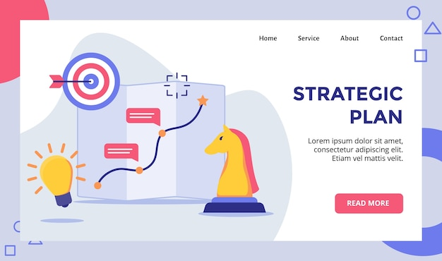 Strategic plan horse chess arrow target board campaign for web website home homepage landing page template banner with modern Premium Vector