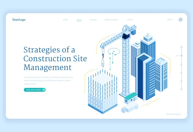 Strategies of construction site management banner Free Vector