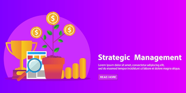 Strategy concept, business consulting, human resource and management flat modern design web banner. Premium Vector