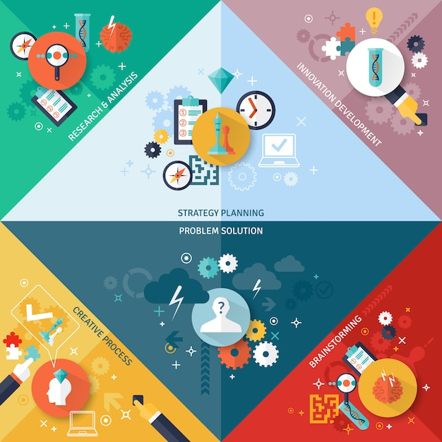 Strategy concept set Free Vector