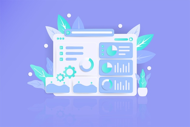 Strategy data illustration 3d modern awesome flat landing page Premium Vector