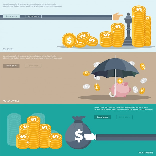 Strategy, investments, savings banners Free Vector
