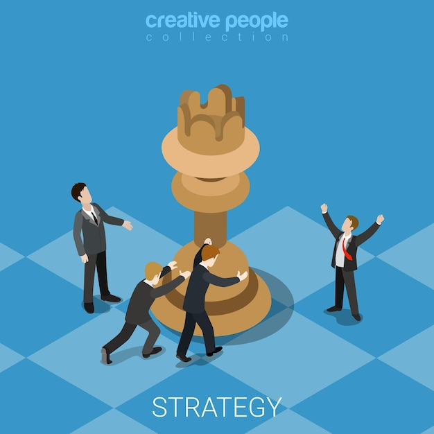 Strategy knight move business concept flat Free Vector