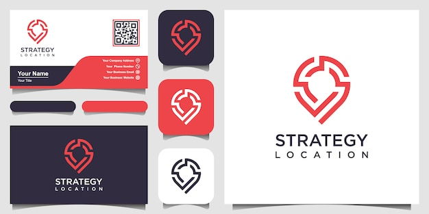 Strategy location or point tech logo and business card . creative  pin strategy technology, electronics, digital, for icon or design concept. Premium Vector