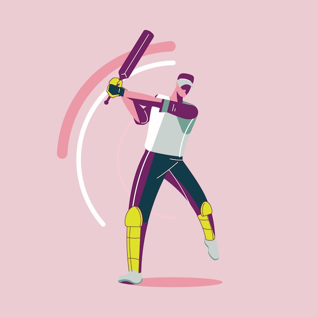 Stration of batsman playing cricket championship or cricket player with bat swing Premium Vector