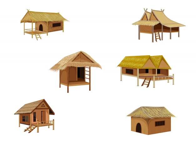 Straw hut vector design Premium Vector