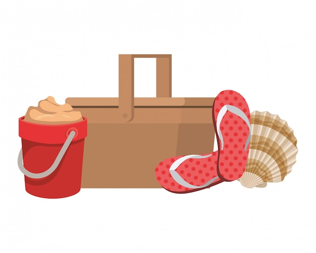 Straw picnic basket on white Free Vector
