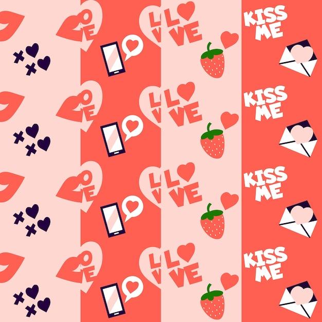 イチゴと愛の手紙バレンタインパターン 無料ベクター