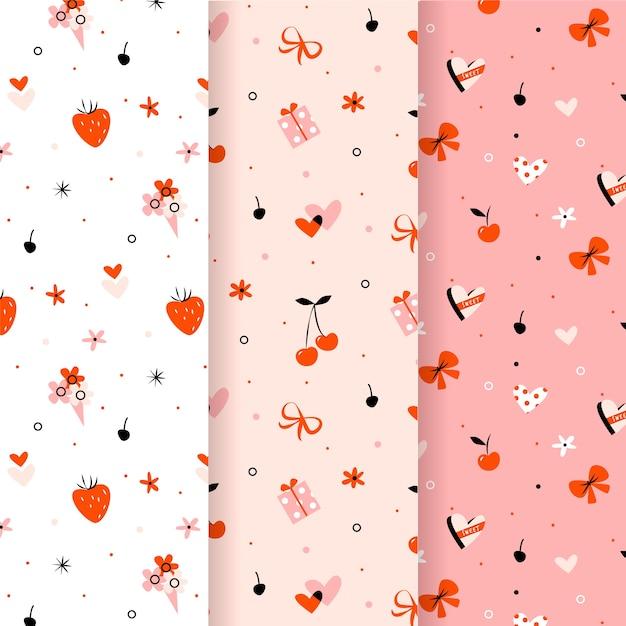 イチゴとリボンバレンタインシームレスパターン 無料ベクター