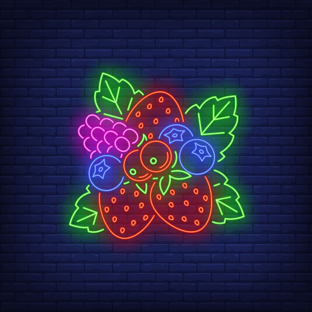 Strawberries, blueberries, red currants and raspberry neon sign. Free Vector