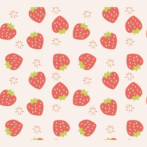 イチゴのパターン設計 無料ベクター