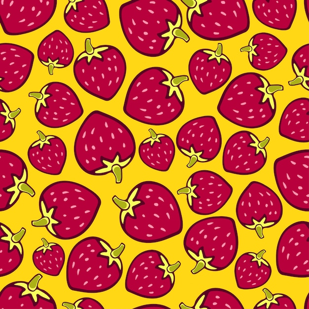 Strawberries seamless pattern on yellow background Premium Vector