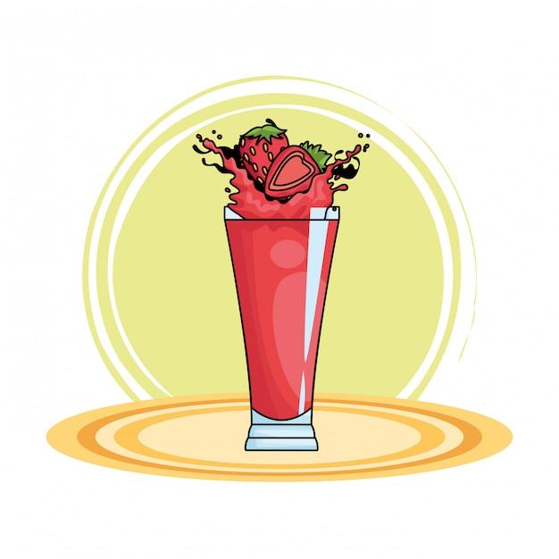 Strawberries splashing refreshment drink cartoon Free Vector