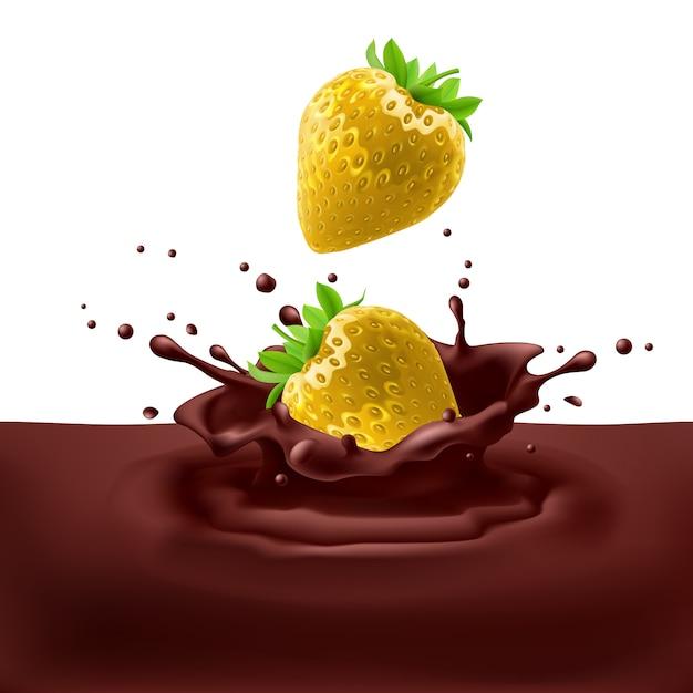 Strawberries with chocolate Premium Vector