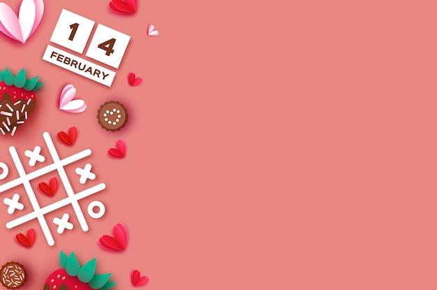 딸기와 초콜릿. 발렌타인 데이 인사말 카드 배경 프리미엄 벡터