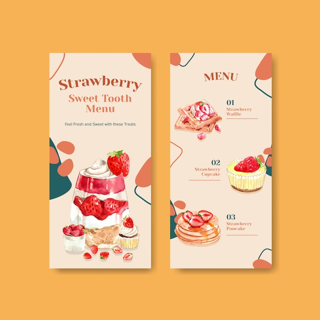 Strawberry baking flyer template design for brochure with cupcake, waffles, cheesecake and shortcake watercolor illustration Free Vector