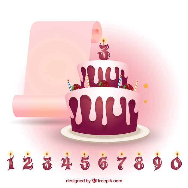 Strawberry Birthday Cake With Candles Numbers Vector