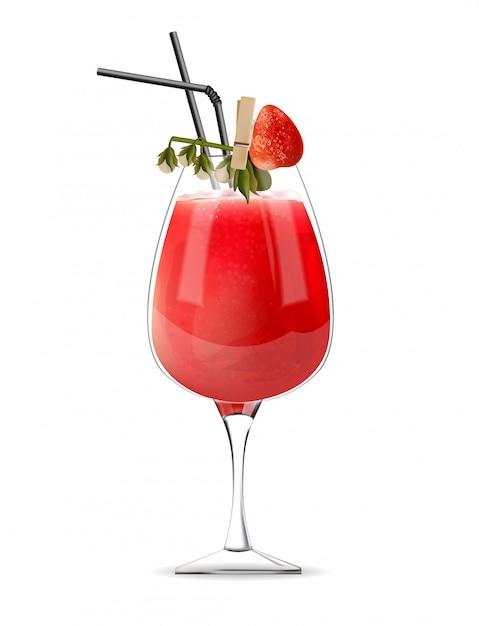 빨대와 과일 장식으로 유리에 딸기 칵테일 무료 벡터