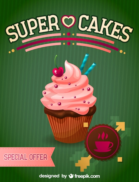 Strawberry cupcake with a cherry Free Vector