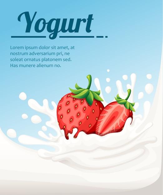 いちご味のヨーグルト。牛乳のしぶきとイチゴの果実。のヨーグルト広告。明るい青の背景のイラスト。あなたのテキストのための場所。 Premiumベクター