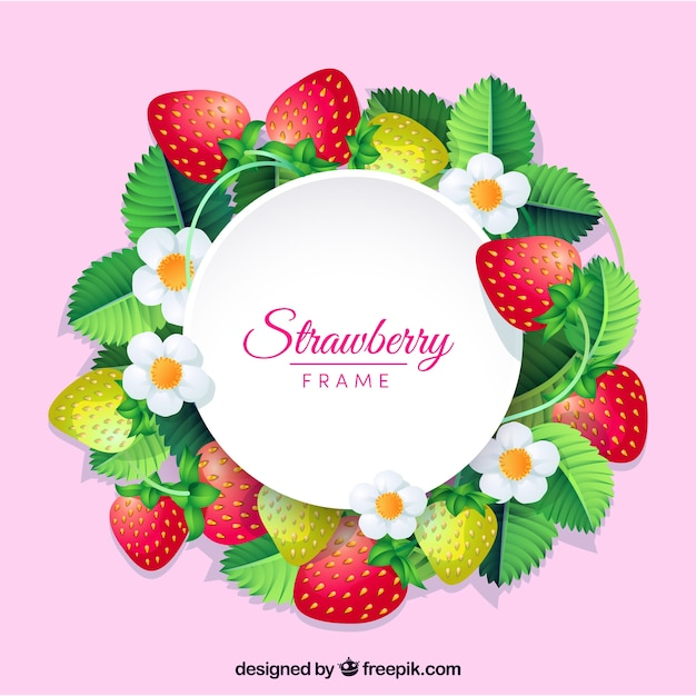 Strawberry frame background Vector | Free Download