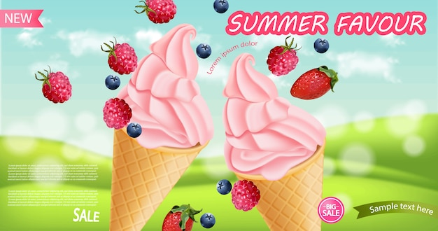 Strawberry ice cream cone background Premium Vector