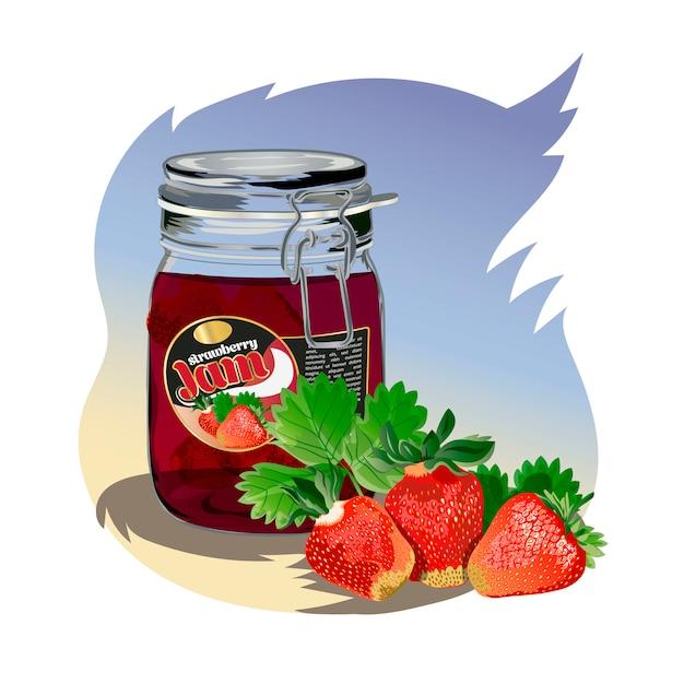 Strawberry jam in the jar Premium Vector