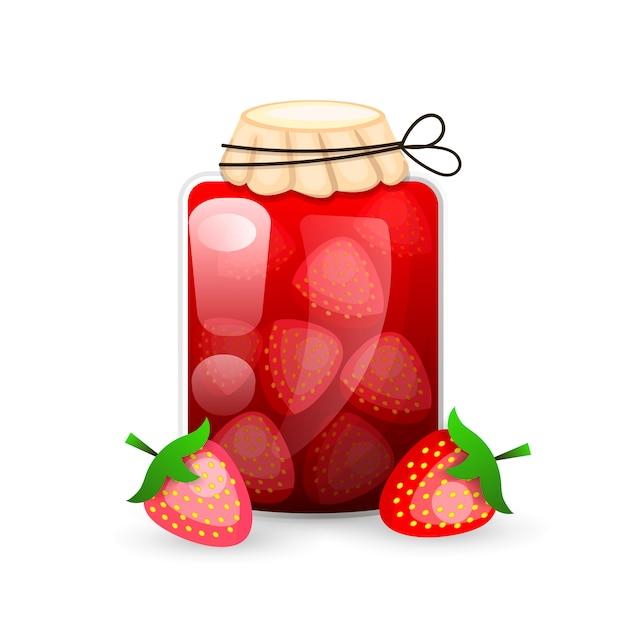 Strawberry jam jar - плоский стиль с линиями логотипа для этикеток. Premium векторы