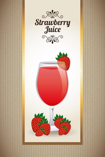 Strawberry juiice on beige Free Vector