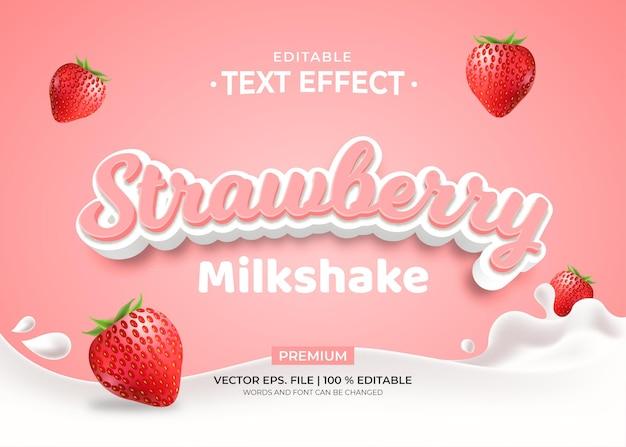 Strawberry milkshake editable text effect Premium Vector