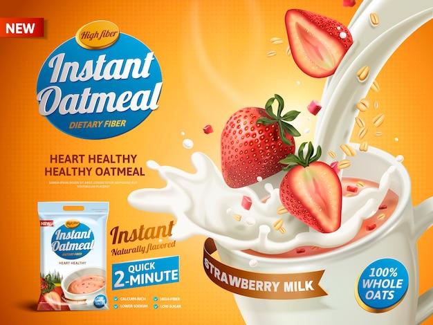 Реклама овсянки с клубникой, с наливанием молока в чашку и клубничными элементами Premium векторы