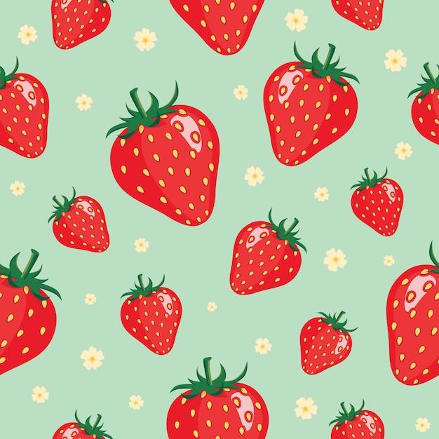 イチゴのパターンの背景 Premiumベクター