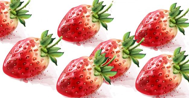 Strawberry pattern watercolor Premium Vector