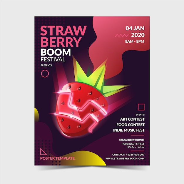 Strawberry poster template Premium Vector