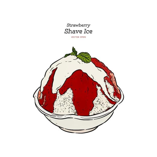 Strawberry shave ice or kakigori , hand draw sketch vector. Premium Vector