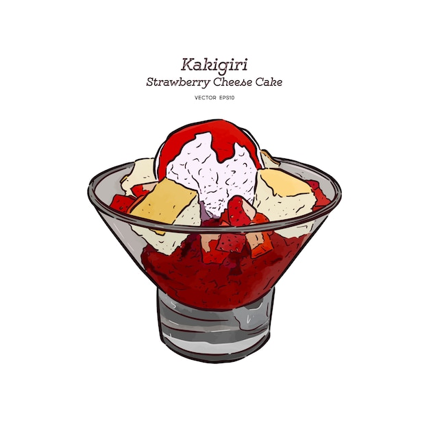 Strawberry shave ice or kakigori with chesse cake and ice-cream, hand draw sketch vector. Premium Vector