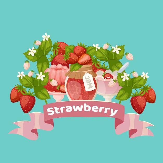 Клубничный сладкие десерты с вареньем, торт, свежие ягоды и сок с розовой лентой мультфильм векторные иллюстрации. Premium векторы