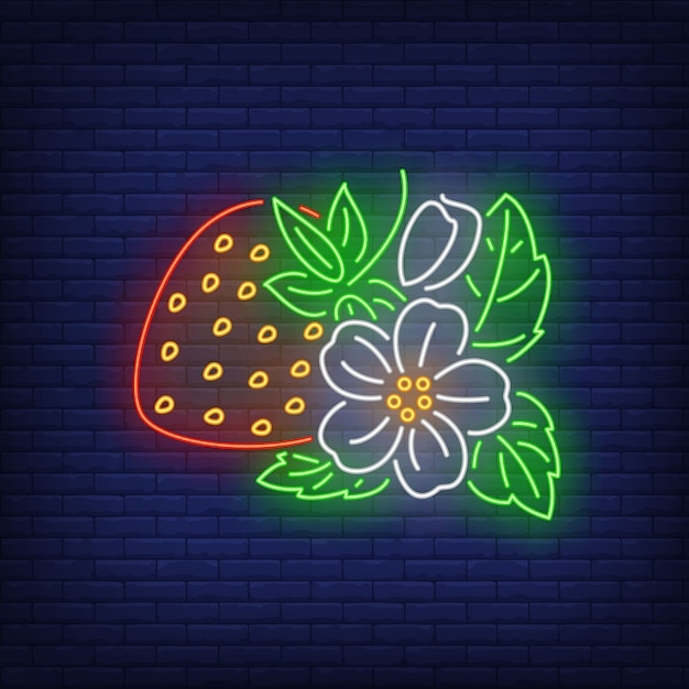 Strawberry with flower and leaves neon sign. Free Vector
