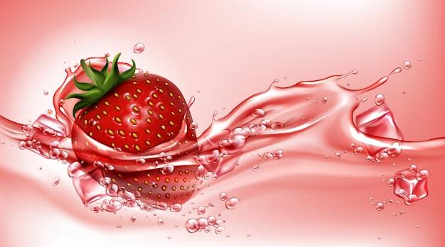 ジュースの流れるスプラッシュ、現実的なイチゴ 無料ベクター