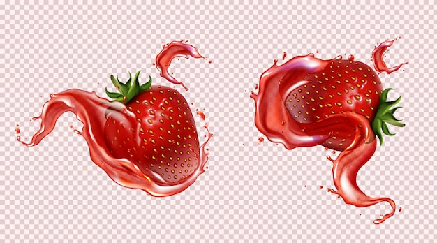 Strawberry with juice splash, realistic isolated Free Vector
