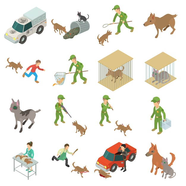 Stray animals icons set. isometric illustration of 16 stray animals vector icons for web Premium Vector