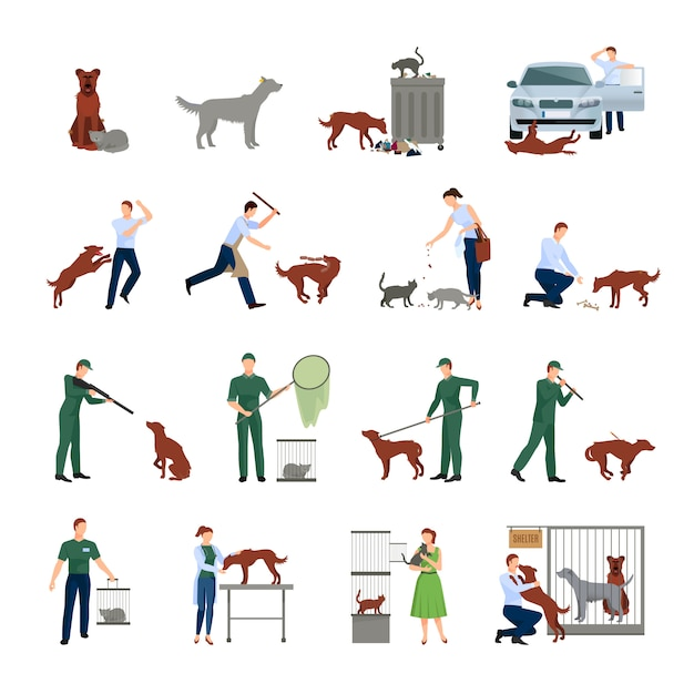 Stray dogs and characters set behavior of animals in society catching treatment in a veterinary clinic and finding them shelter protection vector illustration Premium Vector