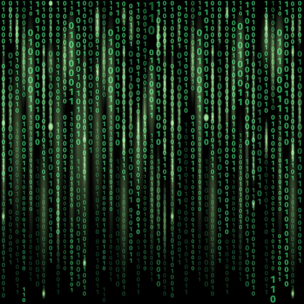 Stream of binary code on screen. abstract vector background. data and technology, decryption and encryption Free Vector