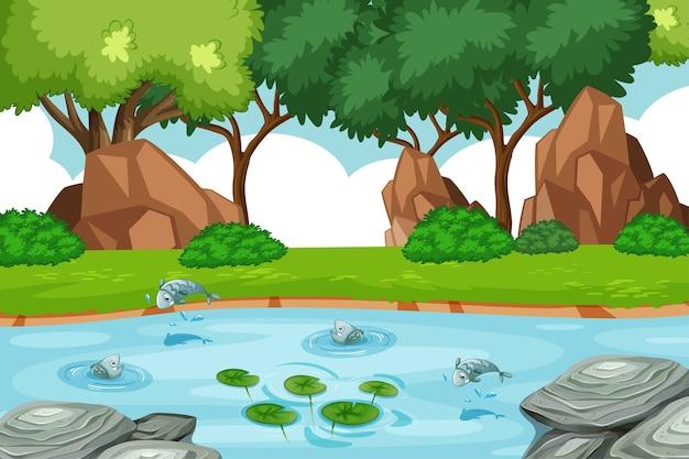Ручей в лесу с рыбками Бесплатные векторы